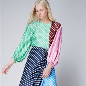 Tibi Delphina Striped Silk Midi Dress Size 0